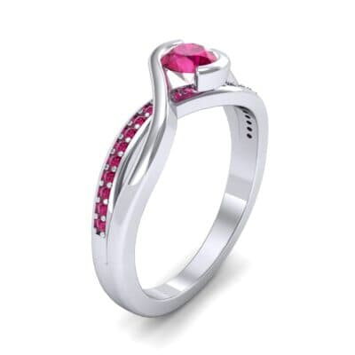 Split Band Ruby Bypass Engagement Ring (0.55 Carat)