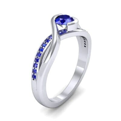 Split Band Blue Sapphire Bypass Engagement Ring (0.55 Carat)