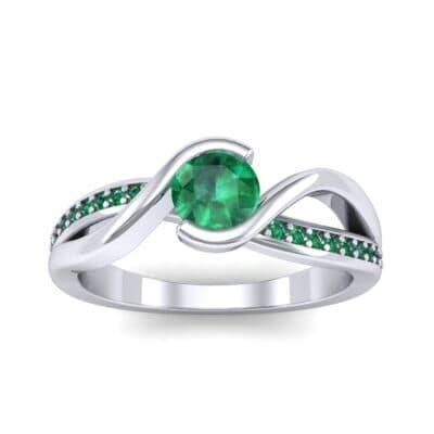 Split Band Emerald Bypass Engagement Ring (0.55 Carat)