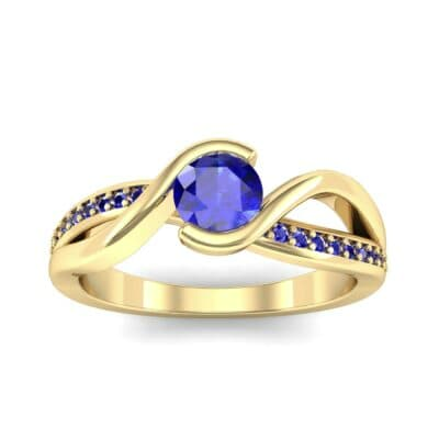 Split Band Blue Sapphire Bypass Engagement Ring (0.55 Carat)
