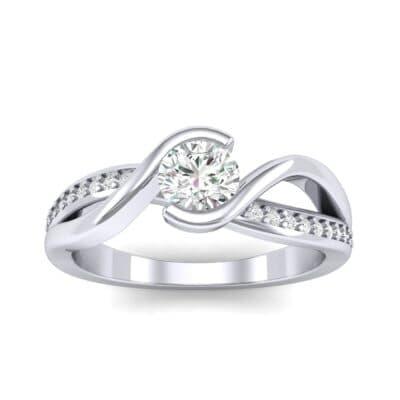 Split Band Diamond Bypass Engagement Ring (0.48 Carat)