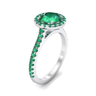 Thin Pave Open Gallery Halo Emerald Engagement Ring (1.53 Carat)