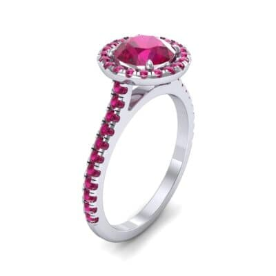 Thin Pave Open Gallery Halo Ruby Engagement Ring (1.53 Carat)