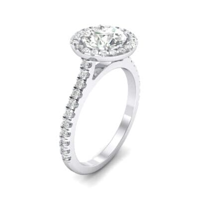 Thin Pave Open Gallery Halo Diamond Engagement Ring (1.09 Carat)