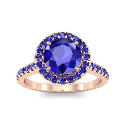 Thin Pave Open Gallery Halo Blue Sapphire Engagement Ring (1.53 Carat)