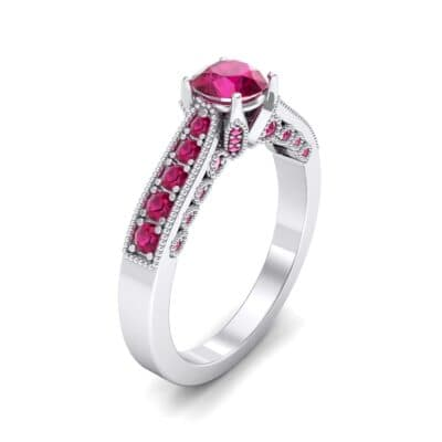 Beaded Pave Ruby Engagement Ring (1.21 Carat)