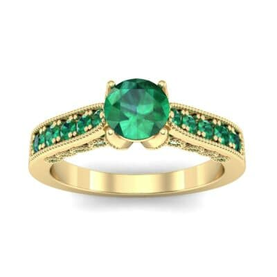 Beaded Pave Emerald Engagement Ring (1.21 Carat)