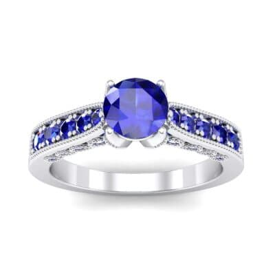 Beaded Pave Blue Sapphire Engagement Ring (1.21 Carat)