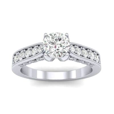 Beaded Pave Diamond Engagement Ring (0.86 Carat)