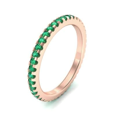 Thin French Pave Emerald Eternity Ring (0.63 Carat)