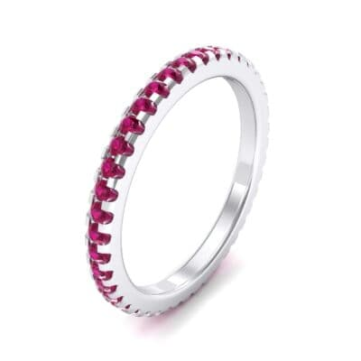 Thin French Pave Ruby Eternity Ring (0.63 Carat)