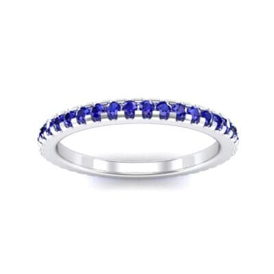 Thin French Pave Blue Sapphire Eternity Ring (0.63 Carat)