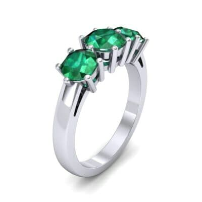 Square Basket Trilogy Emerald Engagement Ring (1.7 CTW) Perspective View