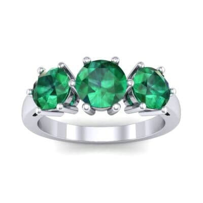 Square Basket Trilogy Emerald Engagement Ring (1.7 CTW) Top Dynamic View
