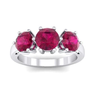 Square Basket Trilogy Ruby Engagement Ring (1.7 Carat)