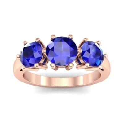 Square Basket Trilogy Blue Sapphire Engagement Ring (1.7 Carat)