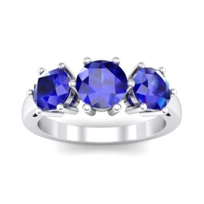Square Basket Trilogy Blue Sapphire Engagement Ring (1.7 Carat)