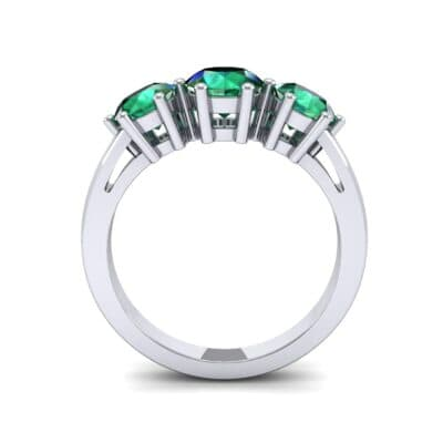 Square Basket Trilogy Emerald Engagement Ring (1.7 CTW) Side View