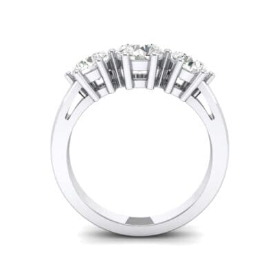 Square Basket Trilogy Crystal Engagement Ring Side View