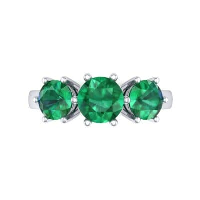 Square Basket Trilogy Emerald Engagement Ring (1.7 CTW) Top Flat View