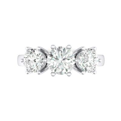 Square Basket Trilogy Crystal Engagement Ring Top Flat View