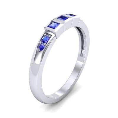 Princess-Cut Trio and Pave Blue Sapphire Ring (0.31 Carat)