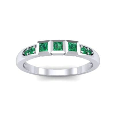 Princess-Cut Trio and Pave Emerald Ring (0.31 Carat)