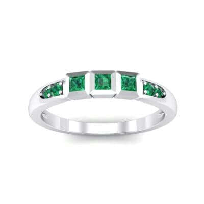 Princess-Cut Trio and Pave Emerald Ring (0.31 Carat)