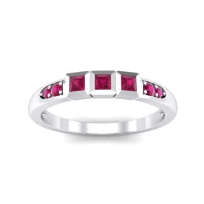 Princess-Cut Trio and Pave Ruby Ring (0.31 Carat)