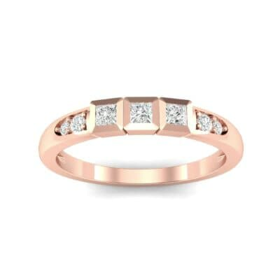 Princess-Cut Trio and Pave Diamond Ring (0.31 Carat)
