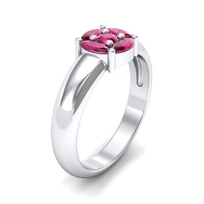 Navette Halo Ruby Engagement Ring (0.65 CTW)