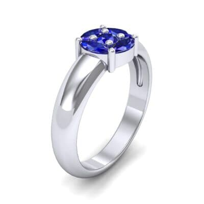 Navette Halo Blue Sapphire Engagement Ring (0.65 CTW)