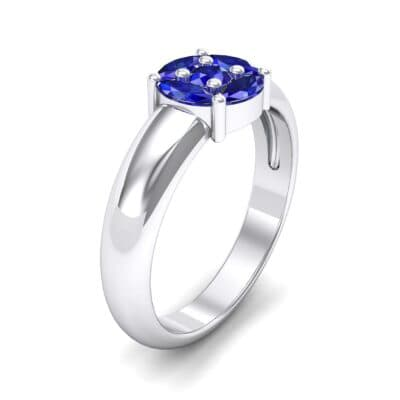 Navette Halo Blue Sapphire Engagement Ring (0.65 CTW) Perspective View
