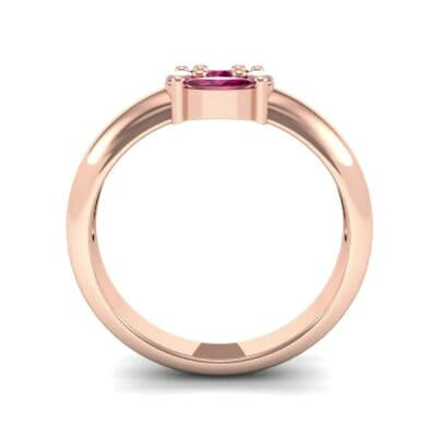 Navette Halo Ruby Engagement Ring (0.65 CTW) Side View