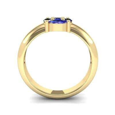 Navette Halo Blue Sapphire Engagement Ring (0.65 CTW) Side View