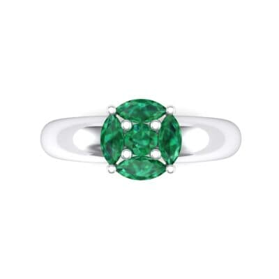Navette Halo Emerald Engagement Ring (0.65 CTW) Top Flat View