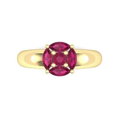 Navette Halo Ruby Engagement Ring (0.65 CTW) Top Flat View