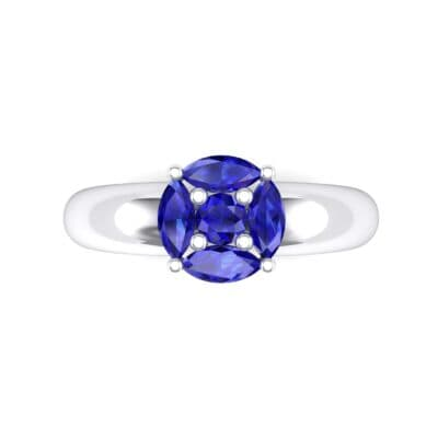 Navette Halo Blue Sapphire Engagement Ring (0.65 CTW) Top Flat View