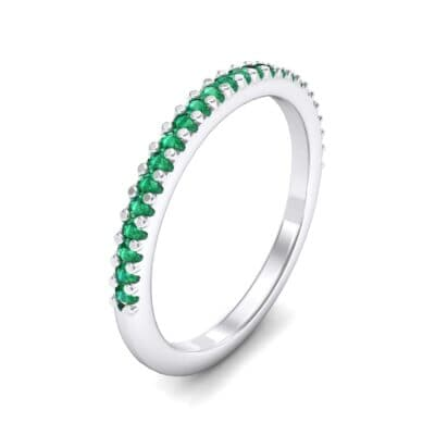 Twinkle Fishtail Pave Emerald Ring (0.17 Carat)