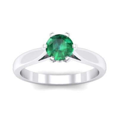 Cathedral Tulip Six-Prong Solitaire Emerald Engagement Ring (0.7 Carat)