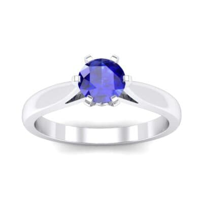 Cathedral Tulip Six-Prong Solitaire Blue Sapphire Engagement Ring (0.7 Carat)