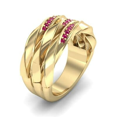 Tri-Row Twist Pave Diamond Ruby Ring (0.18 Carat)