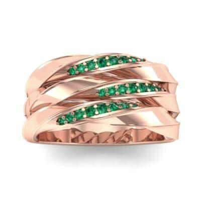 Tri-Row Twist Pave Diamond Emerald Ring (0.18 Carat)