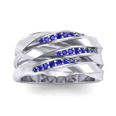 Tri-Row Twist Pave Diamond Blue Sapphire Ring (0.18 Carat)