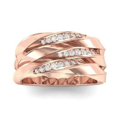 Tri-Row Twist Pave Diamond Diamond Ring (0.18 Carat)