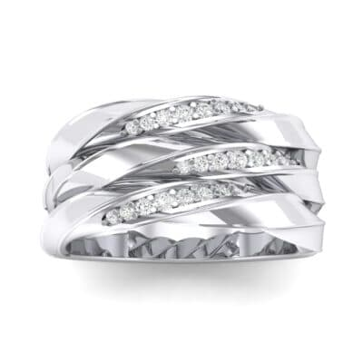Tri-Row Twist Pave Diamond Crystals Ring (0.18 Carat)