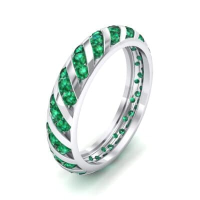 Diagonal Channel-Set Emerald Eternity Ring (1.26 CTW) Perspective View