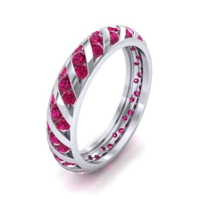Diagonal Channel-Set Ruby Eternity Ring (1.26 Carat)