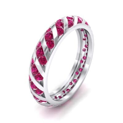 Diagonal Channel-Set Ruby Eternity Ring (1.26 CTW) Perspective View