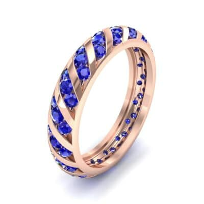 Diagonal Channel-Set Blue Sapphire Eternity Ring (1.26 CTW) Perspective View